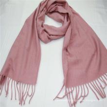 custom plain color long scarf  fringe on two side super soft hand feeling