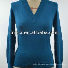 12STC0511 Pullover Design für Frauen einfarbig V-Ausschnitt Pullover