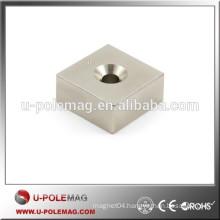 F30 x 30 x 15mm N42 Block Neodymium Magnet with d6.5mm countersunk