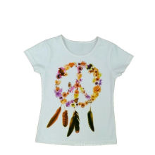 Manga curta menina t-shirt para o verão (stg027)