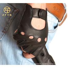 Guantes de cuero de deerskin de los hombres fingerless hechos a mano de la motocicleta de la alta calidad