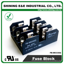 FB-M033SQ Panel and Din Rail Mounted 30A 3 Way Fuse Terminal Block