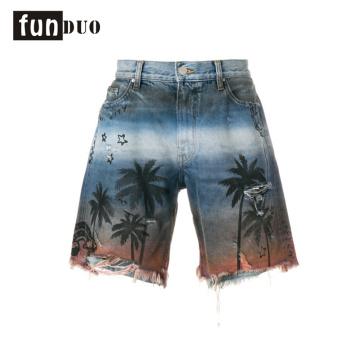 2018 jeans en denim imprimé personnalisé hommes shorts imprimés appel 2018 hommes shorts imprimés shorts en cuir casual design nouveau design