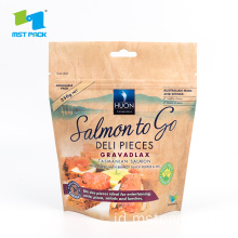 Kemasan Ikan Salmon Dicetak Stand Up Zipper Bag