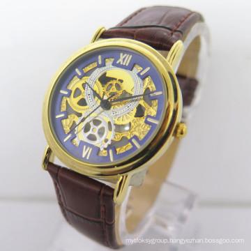 Hot Sale Leather Strap Stainless Steel Case Men′s Wrist Watch