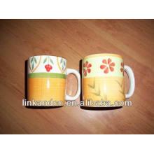 Haonai 2014 jolie 11oz tasse en céramique fleur fleurie à la main