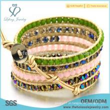 Bohemia pulseiras de couro com cercadura frisada, jóias baratas de boêmia