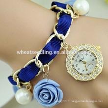 Excellente montre en diamant en dentelle rose tressée