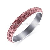 2016 newest pave shiny pink crystal design silver bangle for women high quality stainless steel jewelry