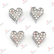 8mm Crystal Heart Slide Charms for DIY Jewelry
