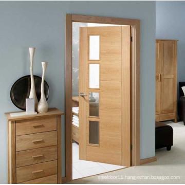 Glass Glazed modern bathroom wooden door
