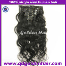 Top Quality New Style Virgin Brazilian Cheap 100% Human Hair Clip in Hair Extension