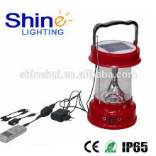 IP65 aprovado lanterna solor impermeável para lanterna de camping com carregador de telefone celular