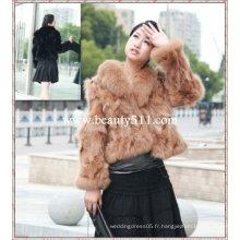 Fah02847 OEM vente en gros de manteau en chameau vêtement de fourrure fourrure de lapin fourrure en peau de fourrure manteau fourrure