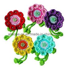 Aldeia vintage mão crochet flor apliques com strass contas folhas