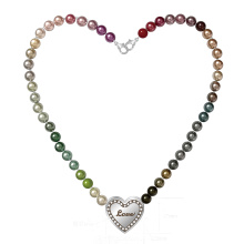 Multicolor Pearl Beaded Necklace with Heart Pendant