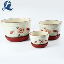 Раскрашенные вручную три слоя керамических цветочных горшков