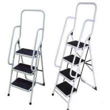 factory high quality household folding 4 step ladder with safety rail
