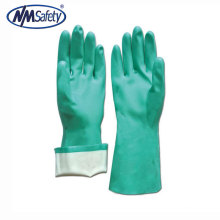 NMSAFETY nitrilo verde revestido de luvas industriais químicas manguito longo