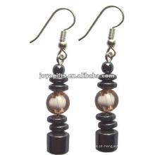 Moda Hematite Tambor Beads Brinco