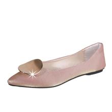 2019 hot sale women flat shoes micro fiber flat shoes steel decoration flat shoes