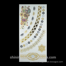 Newest gold foil tattoo temporary type metal tattoo stickers
