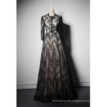 LSQ042 O-neck natural waist with pattern black velvet evening dress long sleeve maxi evening dress