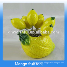 Attractive design ceramic fruit fork set for kids in mango shape