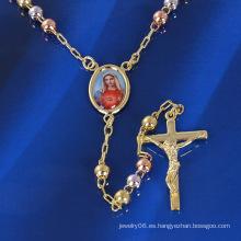 Tres Colores / Tres Colores / Multicolor Cruz Collar de María con Oro Chapado
