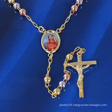 Three Color/ Tri-Color / Multicolor Cross Mary Necklace with Gold Plated