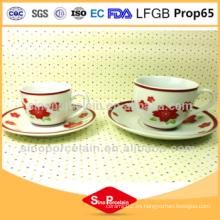 Fda aprobado Copa de porcelana y plato Café Set con impresión de flores