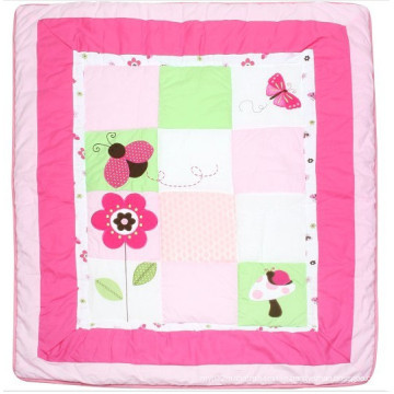Patchwork Quilt in Red Flower and Insects Cute Applique