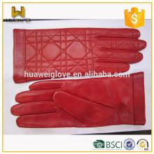 Pressure Lines Design 100% Genuine Sheepskin Red Soft Leather Gloves Wrist