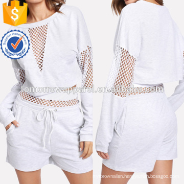 Fishnet Panel Crop Pullover With Shorts Manufacture Wholesale Fashion Women Apparel (TA4027SS)