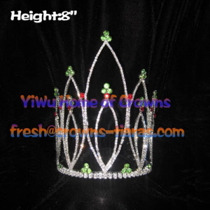 8inch Height Green And Red Diamond Pageant Crowns