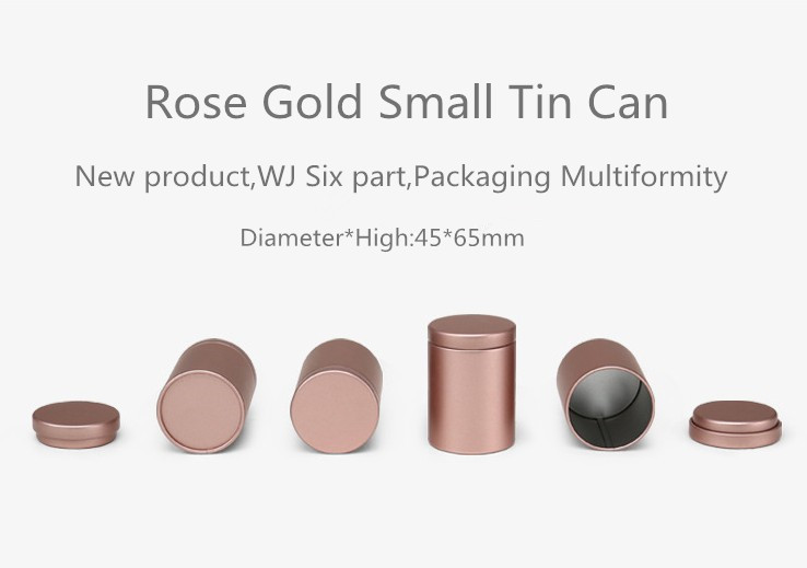 Rose gold small round Tea Tin Box 5