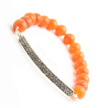Red Aventurine Gemstone Bracelet with Diamante Piece