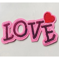 Pink color love sequins patch