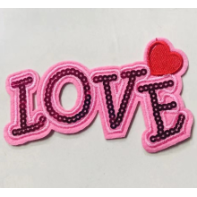 Patch de paillettes d'amour de couleur rose
