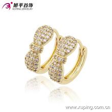 Mode Nouveaux produits 14k Plaqué Or Charme Cristal Bowknot Hoop Boucle d'oreille pour les femmes- 90166