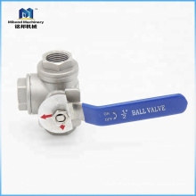 Fast Delivery Reliable Quality Sanitary Stainless Steel Customized Size stainless steel ball valve 3 way