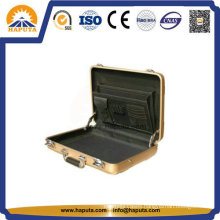 Middle Golden Aluminum Attache Case with Pockets (HL-5205)