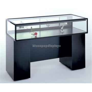Qualität gesicherte kundenspezifische schwarze hölzerne Unterseiten-Glas-Oberseite freie stehende Uhr-Schmucksache-Ausstellungsdisplay
