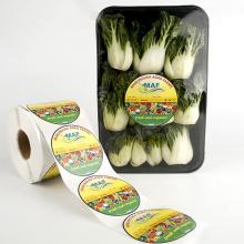 Rolo de etiquetas personalizadas de frutas e vegetais pré-impressas
