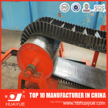 Vertical Angle Black Rubber Sidewall Cleated Conveyor Belt