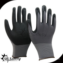 SRSAFETY 13g sandy finish nitrile coated glove/working gloves/safety gloves