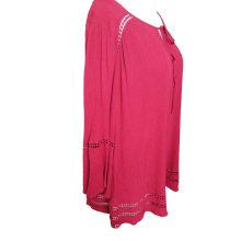 Tejido de cuello redondo de lino, estilo popular, camiseta de mujer