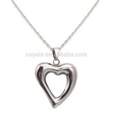 Alloy Charm Pingente Oco Prata Colar Coração Melhor Amigo Coração