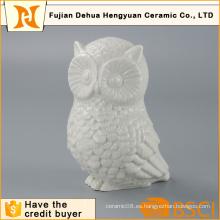Esmaltado blanco de forma de búho figura de cerámica de animales para la decoración del hogar