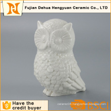 Glazed White Owl Shape Ceramic Animal Figure for Home Decoration